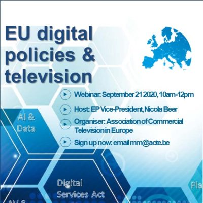 "ACT organises a webinar on ""EU digital policies & TV"""