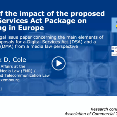 """ACT speaks at the EMR presentation of legal issue paper """"Impact of the proposed Digital Services Act Package on broadcasting in Europe"""""""